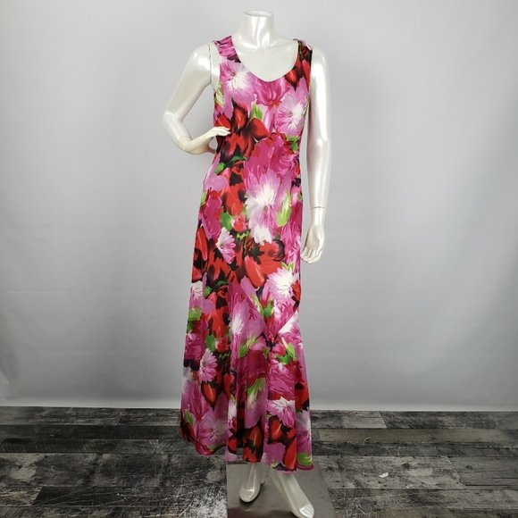 Tribal Red Flower Maxi Dress Size 4